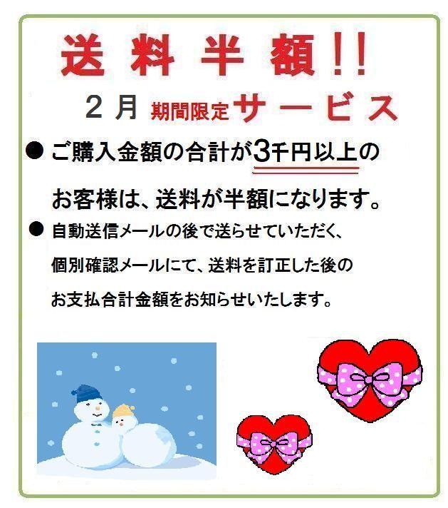 ご購入金額3千円以上 送料半額!2月期間限定