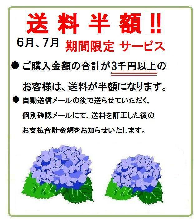 ご購入金額3千円以上 送料半額!6月、7月期間限定!
