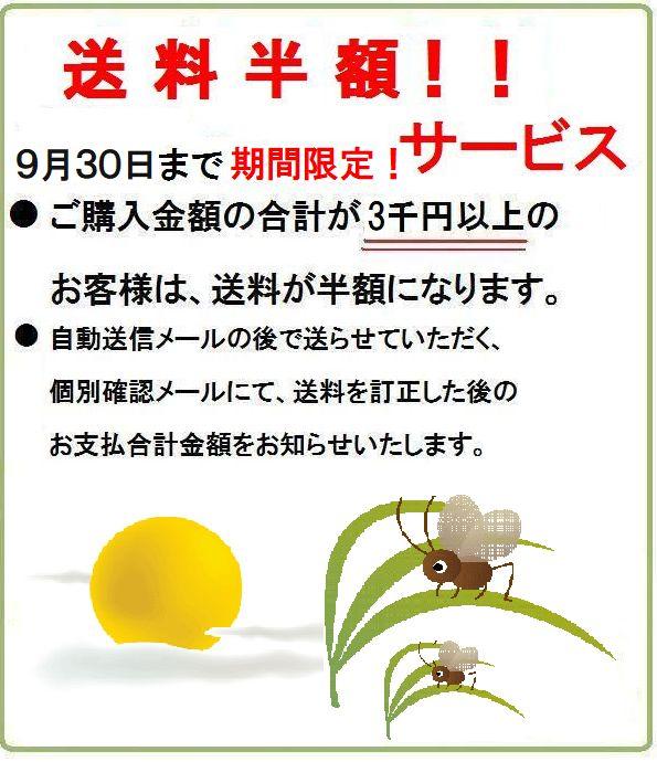 ご購入金額3千円以上 送料半額!9月限定